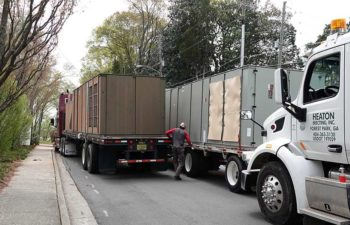 Trucks with industrial HVAC units.
