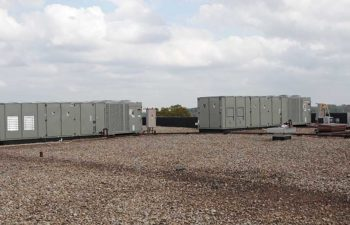 Industrial HVAC systems on rooftop.